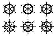 Ship Wheel Icon Set. Silhouett...