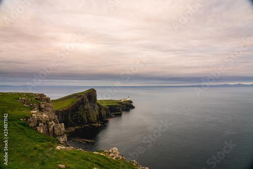 Foto op Aluminium Koraal Neist Point Lighthouse, amazing tourist attraction, Scotland, UK