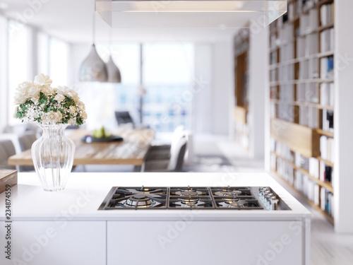 Fotografija Modern technological built-in kitchen appliances, hob, gas stove, mixer, sink