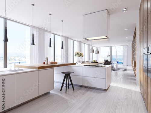 Αφίσα  White corner kitchen in contemporary style, with bar top and black chairs