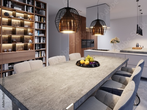Fotomural  A large dining table with a concrete worktop, large designer hanging lamps and six stylish chairs
