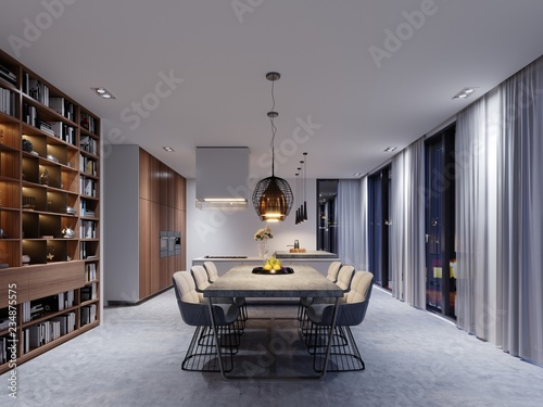 Large dining room with kitchen, large dining table in a fashionable contemporary style. Creative design solution for the interior of the dining-kitchen.