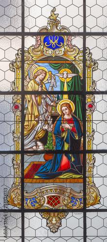 PRAGUE, CZECH REPUBLIC - OCTOBER 16, 2018: The stained glass of Annunciation in church kostel Svatého Havla.