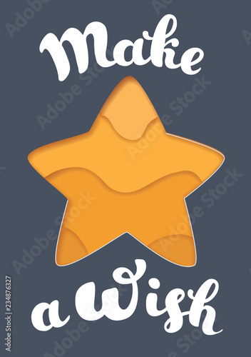 Cuadros en Lienzo Make a Wish lettering and star.