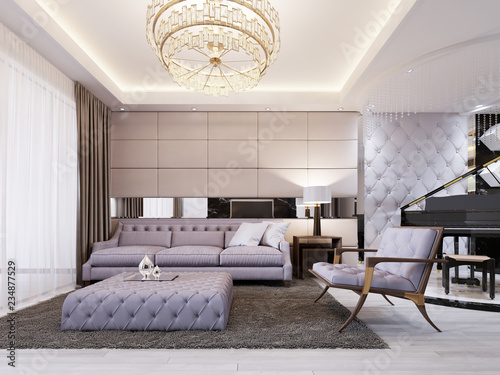 Modern Classic New Art Deco Living Room Interior Design With