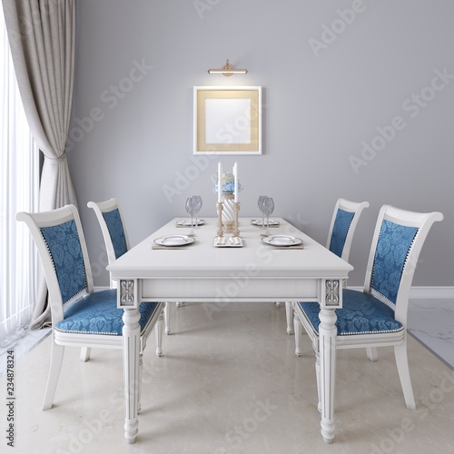 Awesome Luxurious Dining Table With White Furniture And Blue Alphanode Cool Chair Designs And Ideas Alphanodeonline