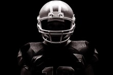 American Football Player Standing With Rugby Helmet