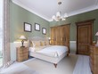 Modern Classic Traditional Bedroom Interior Design with olive walls, Elegant furniture and bed linen.