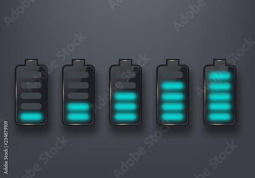 Glossy battery icon set. Design element Canvas Print