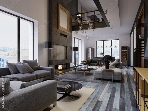 Luxury Duplex Loft Style Apartment Contemporary Furniture And Brick Walls With Designer Fireplace In