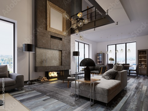 New Design Living Room With A Large Fireplace To The Ceiling In Loft Style Sofas An Armchair And Dining Table Windows Second Level