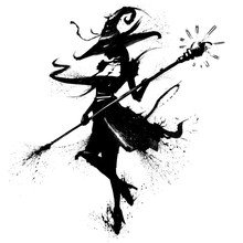 Witch With A Staff In A Hat With A Curl