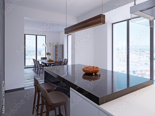 Fototapeta Modern bar counter in contemporary kitchen with dining area and large panoramic windows. obraz