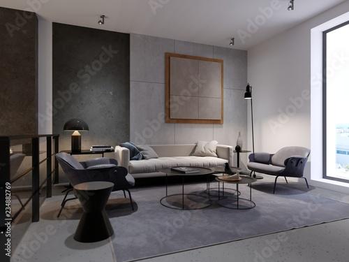 Fényképezés  Contemporary recreation area with sofa, armchair and magazine table and decor