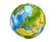 Latvia on 3D model of Earth with country borders and water in oceans. 3D illustration isolated on white background.
