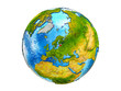 Estonia on 3D model of Earth with country borders and water in oceans. 3D illustration isolated on white background.