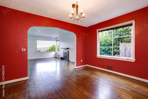 Red dining room interior of craftsman style house. - Buy ...