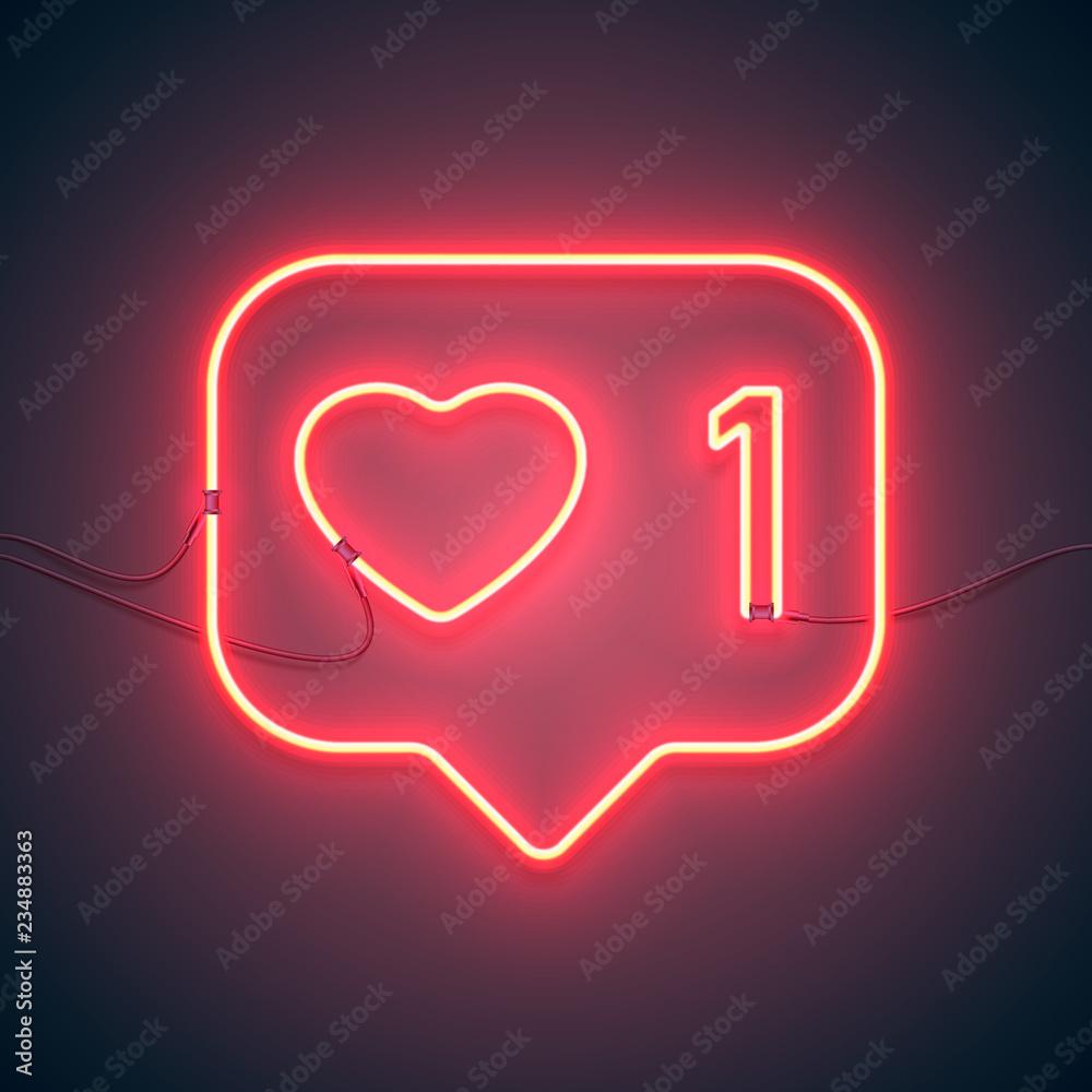 Fototapety, obrazy: neon sign like heart