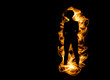 Silhouette of fictitious fire that does not burn