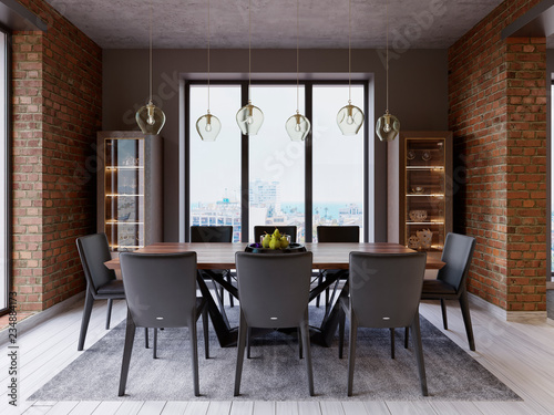 Pinturas sobre lienzo  Cozy loft with dining table, chairs and storage racks.