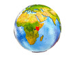 Kenya on 3D model of Earth with country borders and water in oceans. 3D illustration isolated on white background.
