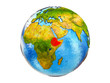 Ethiopia on 3D model of Earth with country borders and water in oceans. 3D illustration isolated on white background.