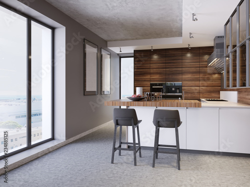 A Kitchen With Island Two Chairs In Modern The Style Of Contemporary And Furniture