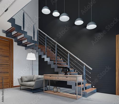 Obraz na płótnie Comfortable modern sofa in the lobby near the stairs to the second floor