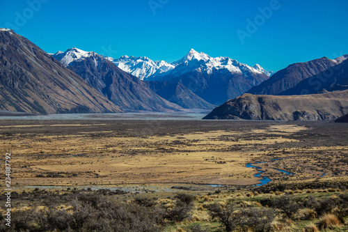 Mount Sunday landscape, scenic view of Mount Sunday and surroundings in Ashburto Wallpaper Mural