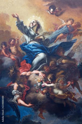 PRAGUE, CZECH REPUBLIC - OCTOBER 18, 2018: The baroque painting of Assumption in church kostel Svaté Voršily by Petr Brandl (1710).