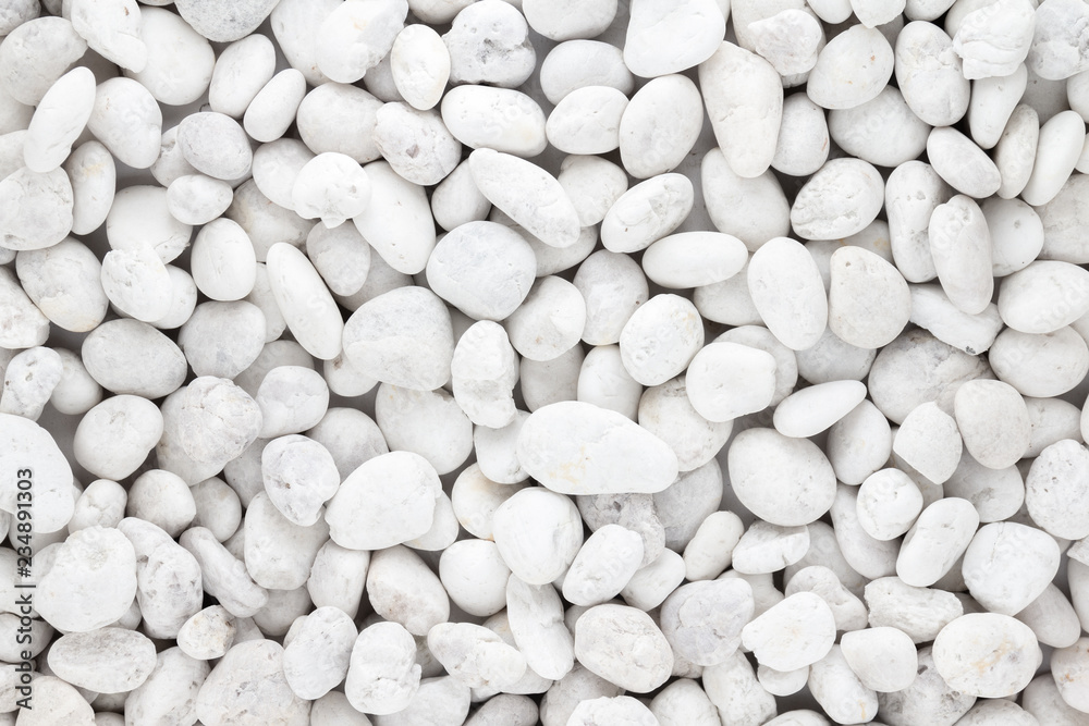 Fototapeta White pebbles stone texture and background