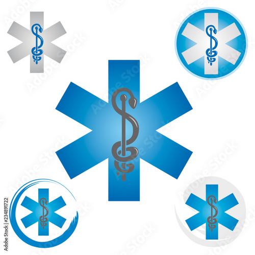 Photo Ensemble d'Icônes Symbole Urgence Caducée Etoile Couleur Bleu