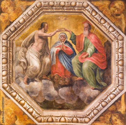 PARMA, ITALY - APRIL 17, 2018: The detail of fresco of Coronation of Virgin Mary on the celing of church Chiesa di Santa Maria degli Angeli by Giovanni Maria Conti and Pier Antonio Bernabei (1620).