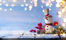 Snowman And Christmas Tree Decoration; Background Or Season Holidays Banner