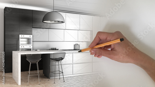 Fototapeta Architect interior designer concept: hand drawing a design interior project while the space becomes real, modern kitchen in classic apartment, cabinets, island and stools, pendant lamp obraz
