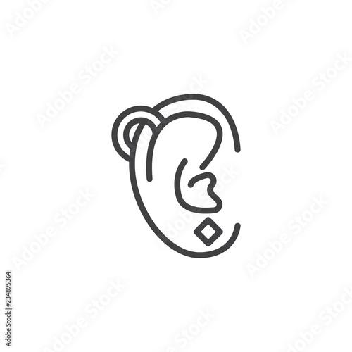 Foto Ear piercing outline icon