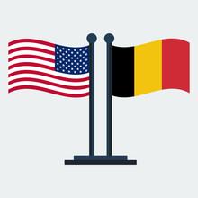 Flag Of United States And Belgium .Flag Stand. Vector Illustration