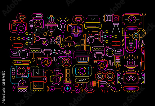 Photo Equipment neon vector illustration