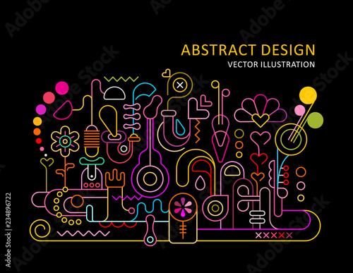 Poster Abstractie Art Abstract Design Neon