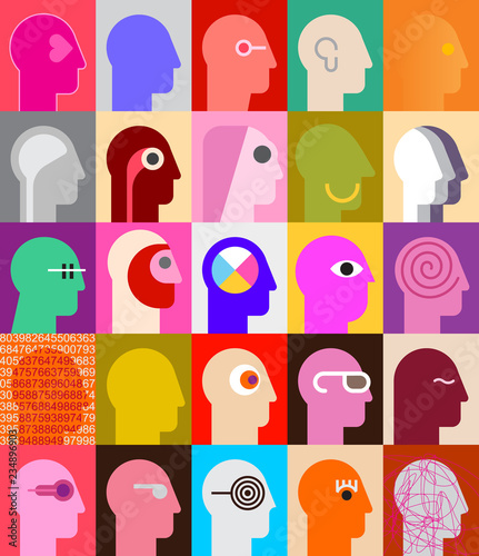 La pose en embrasure Art abstrait Human Heads vector design