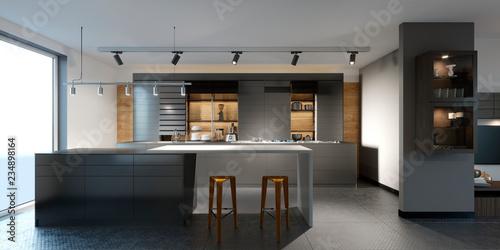 Photo  beautiful kitchen with dark furniture of an new loft.