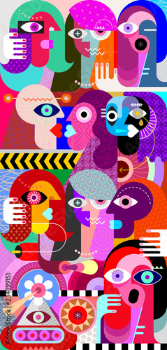 In de dag Abstractie Art Crowd vector illustration