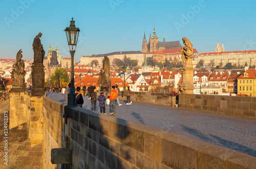 Foto op Aluminium Praag Prague - The panorama of Charles Bridge, Castle and Cathedral withe the Vltava river.