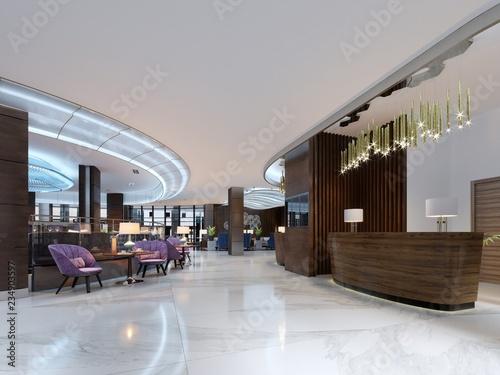 Fotografía  Reception area of a modern hotel.
