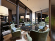 Beautiful lounge area of the hotel in a modern style, with luxurious furniture.