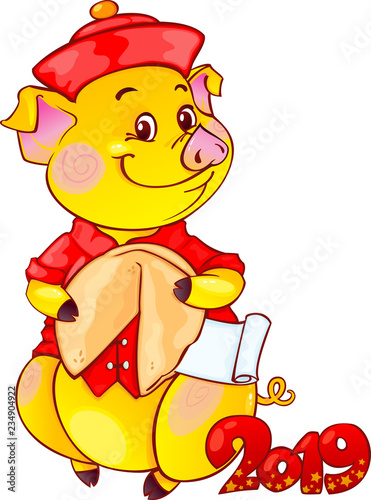 Fotobehang Beren Yellow Earthy Pig with Fortune Cookie for the New Year 2019. Cute Symbol of Chinese Horoscope.