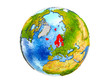 Northern Europe on 3D model of Earth with country borders and water in oceans. 3D illustration isolated on white background.
