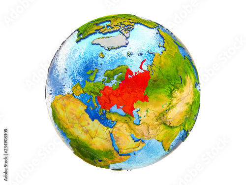 Fotografia  Eastern Europe on 3D model of Earth with country borders and water in oceans