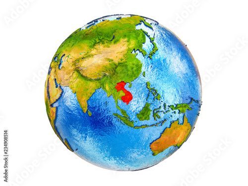 Foto  Indochina on 3D model of Earth with country borders and water in oceans
