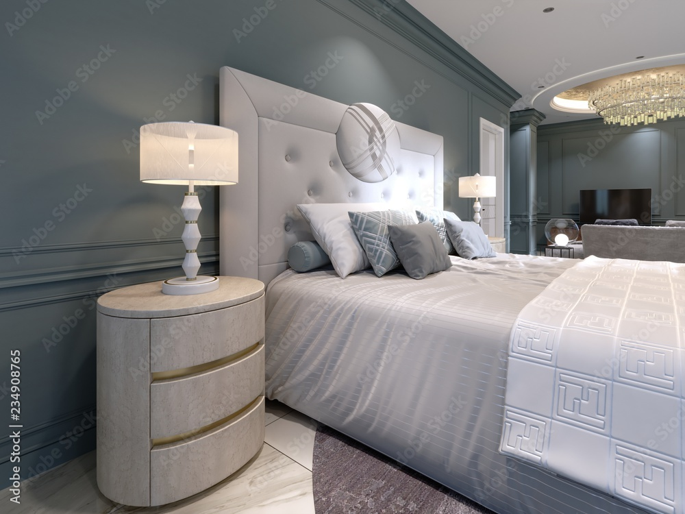 Fototapety, obrazy: Elegant bedroom interior with large comfortable bed and sofa with dressing table.